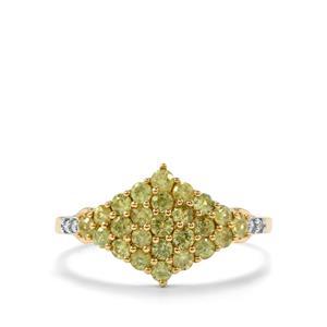 Ambanja Demantoid Garnet & Diamond 10K Gold Ring ATGW 0.96cts