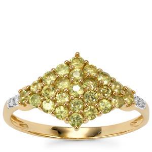 Ambanja Demantoid Garnet Ring with Diamond in 9K Gold 0.96ct