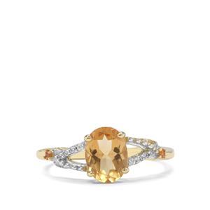 Xia Heliodor, Diamantina Citrine & White Zircon 9K Gold Ring ATGW 1.18cts