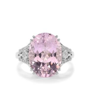 Kolum Kunzite Ring with Diamond in 18K White Gold 9cts