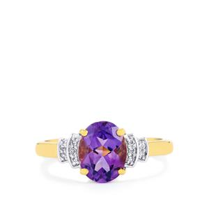 Moroccan Amethyst & White Topaz Gold Vermeil Ring ATGW 1.82cts