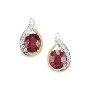 Malawi Garnet Earrings with Diamond in 18K Gold 3.05cts