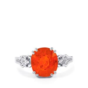 Mandarin Garnet & Diamond 14K White Gold Tomas Rae Ring ATGW 5.19cts