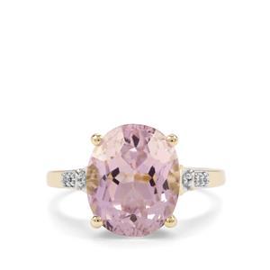 Kolum Kunzite & Diamond 9K Gold Tomas Rae Ring ATGW 6.34cts