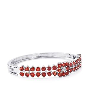 Rajasthan Garnet Oval Bangle with White Topaz in Sterling Silver 10.69cts
