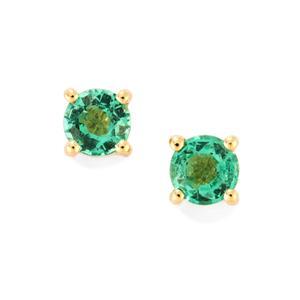 Ethiopian Emerald Earrings in 18K Gold 0.38cts