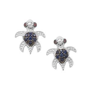 Rhodolite Garnet Earrings with Thai Sapphire in Sterling Silver 0.22ct