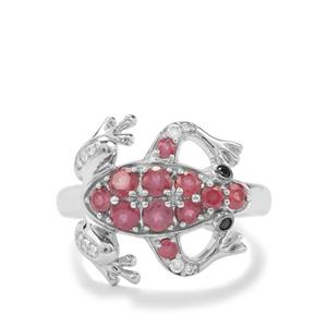 Malagasy Ruby, Black Spinel & White Zircon Sterling Silver Ring ATGW 1.27cts (F)