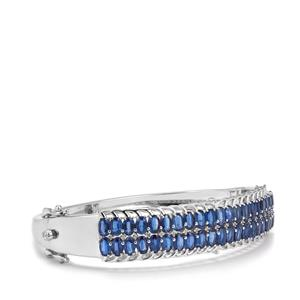 Daha Kyanite Oval Bangle with White Zircon in Sterling Silver 13.17cts