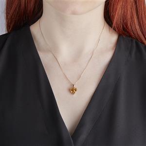 Lehrer TorusRing Rio Golden Citrine Pendant with Red Diamond in 10K Gold 2.48cts