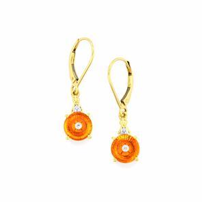 Lehrer TorusRing Padparadscha Quartz Earrings with Diamond in 9K Gold 2.92cts