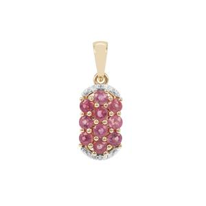 Padparadscha Sapphire Pendant with Diamond in 9K Gold 1.21cts