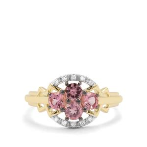 Mozambique Pink Spinel & Diamond 9K Gold Ring ATGW 0.83ct