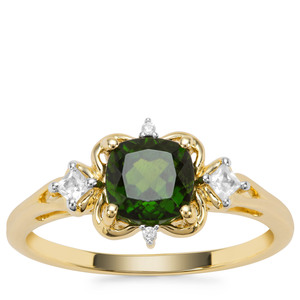 Chrome Diopside Ring with White Zircon in 9K Gold 1.27cts
