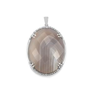 Grey Agate Pendant with White Topaz in Sterling Silver 50.06cts