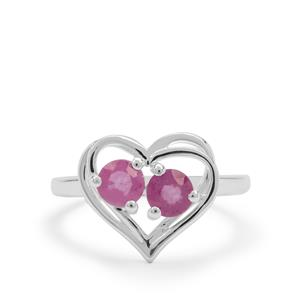 1.17ct Ilakaka Hot Pink Sapphire Sterling Silver Heart Ring (F)