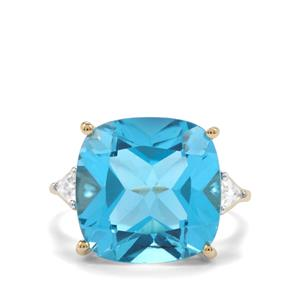 Swiss Blue Topaz Ring with White Zircon in 10K Gold 14.54cts