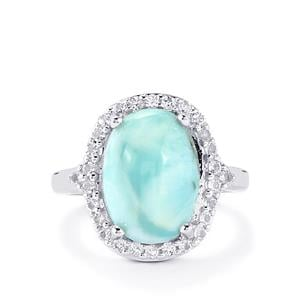 Larimar & White Topaz Sterling Silver Ring ATGW 6.86cts