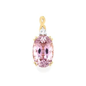 Mawi Kunzite Pendant with Diamond in 18K Gold 11.46cts