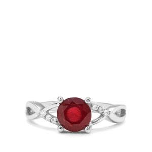 Malagasy Ruby & White Zircon Sterling Silver Ring ATGW 2.06cts (F)