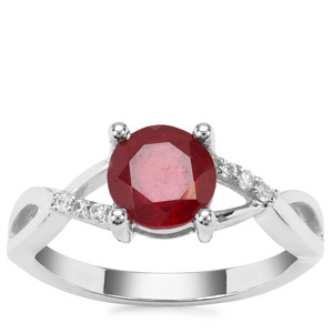 Malagasy Ruby Ring with White Zircon in Sterling Silver 2.06cts (F)