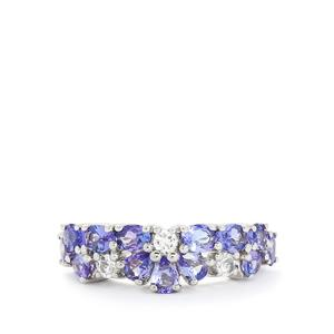 AA Tanzanite & White Topaz Sterling Silver Ring ATGW 2.48cts