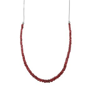 32ct Malagasy Ruby Sterling Silver Slider Graduated Bead Necklace (F)