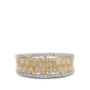 1.22ct Natural Yellow & White Diamond 18K Gold Ring