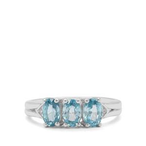 Ratanakiri Blue & White Zircon Sterling Silver Ring ATGW 2.25cts