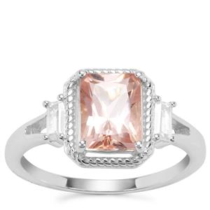 Galileia Topaz Ring with White Zircon in Sterling Silver 2.24cts
