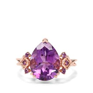 Moroccan & Zambian Amethyst 9K Rose Gold Ring ATGW 4.58cts