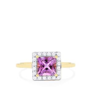Rose du Maroc Amethyst Ring with White Zircon in 9K Gold 1.22cts