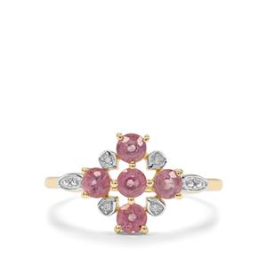 Padparadscha Sapphire & Diamond 10K Gold Ring ATGW 1.02cts