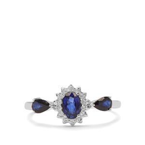 Sri Lankan Sapphire & White Zircon 9K White Gold Ring ATGW 1.12cts
