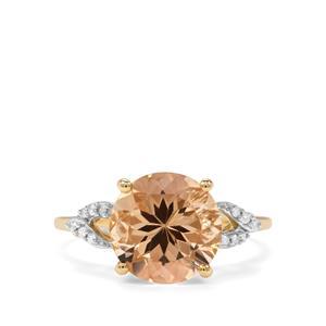 Champagne Danburite & Diamond 9K Gold Ring ATGW 3.79cts
