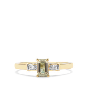 Csarite® & Diamond 9K Gold Ring ATGW 0.71cts