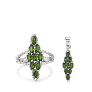 2.81ct Chrome Diopside Sterling Silver Set of Ring & Pendant