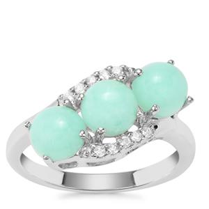 Prase Green Opal Ring with White Zircon in Sterling Silver 2.51cts