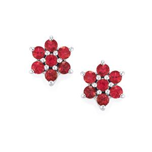 Cruzeiro Rubellite Earrings in Sterling Silver 0.89cts