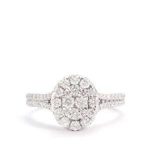 Diamond Ring in 14K White Gold 1ct