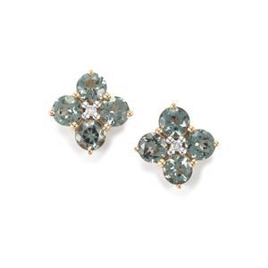 Mahenge Blue Spinel & Diamond 10K Gold Earrings ATGW 1.51cts