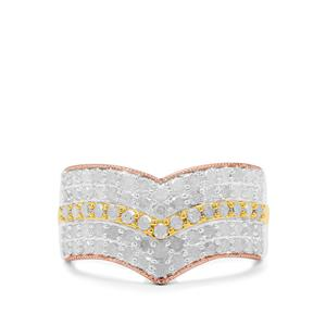 Diamond Ring in Three Tone Gold Plated Sterling Silver 1cts