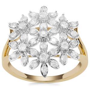 Diamond Multi Flower Ring in 9K Gold 0.76ct
