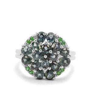 Natural Umba Sapphire & Tsavorite Garnet Sterling Silver Ring ATGW 3.37cts