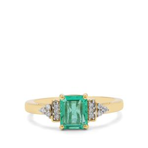 Ethiopian Emerald Ring with Diamond in 18K Gold 1.34cts
