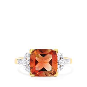 Oregon Sunstone Ring with Diamond in 18K Gold 2.70cts