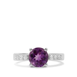 Moroccan Amethyst & White Zircon Sterling Silver Ring ATGW 1.91cts