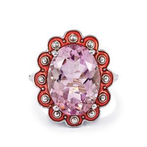 11.30ct Rose De France Amethyst Sterling Silver Ring