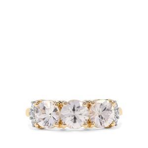 3.17ct Singida Tanzanian & White Zircon 9K Gold Ring