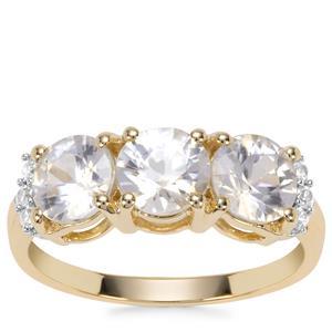 Singida Tanzanian Zircon Ring with White Zircon in 9K Gold 3.17cts